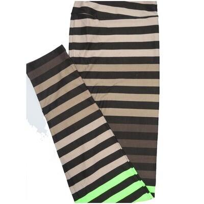 LuLaRoe Tall Curvy TC Green Black Stripe Leggings (TC fits Adults 12-18)
