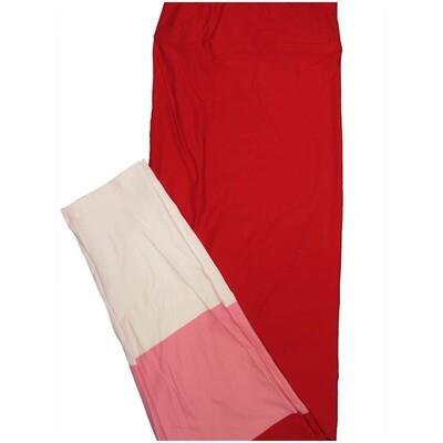 LuLaRoe Tall Curvy TC Solid Red Pink White Stripe Leggings (TC fits Adults 12-18)