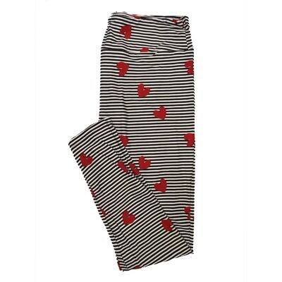 LuLaRoe Tall Curvy TC Black White Stripe with Red Hearts Leggings (TC fits Adults 12-18)