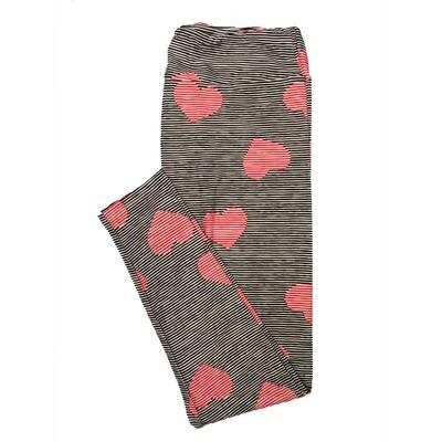 LuLaRoe Tall Curvy TC Black Red White Stripe Valentines Hearts Leggings (TC fits Adults 12-18)