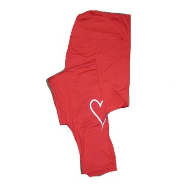 LuLaRoe Tall Curvy TC Solid Red with White Thin Heart on One Leg Valentines Leggings (TC fits Adults 12-18)
