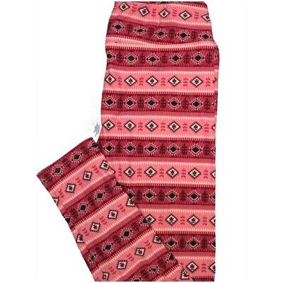 LuLaRoe Tall Curvy TC Southwestern Aztek Red Black Pink Stripe Leggings (TC fits Adults 12-18)
