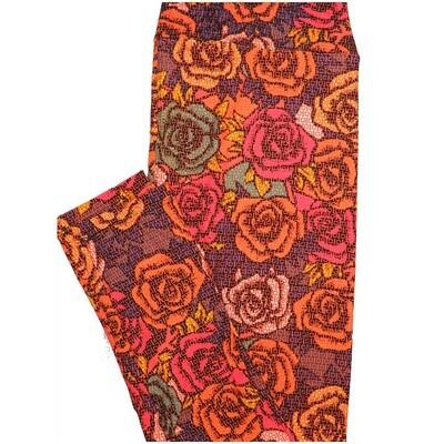 LuLaRoe Tall Curvy TC Roses Black Orange White Leggings (TC fits Adults 12-18)