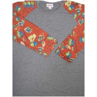 LuLaRoe Randy Medium M Disney Toy Story 3 Eye Alien Womens Raglan Sleeve Unisex Baseball Tee Shirt - M fits 10-12