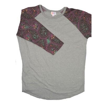 LuLaRoe Randy Medium Heathered Gray with Purple Pink Yellow Geometric Raglan Sleeve Unisex Baseball Tee Shirt - M fits 10-12