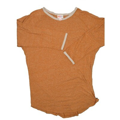 LuLaRoe Randy Medium Heathered Light Orange with Gray Trim Raglan Sleeve Unisex Baseball Tee Shirt - M fits 10-12