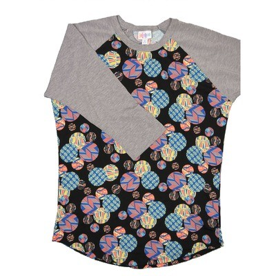 LuLaRoe Randy Medium Asian Lantern Black Pink Yellow Coral with Gray Raglan Sleeve Unisex Baseball Tee Shirt - M fits 10-12