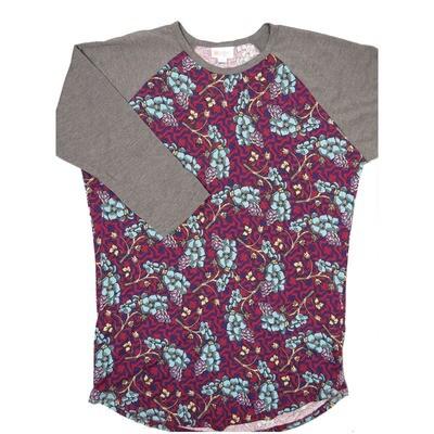 LuLaRoe Randy Medium Grapes Maroon Purple Slate Floral with Gray Raglan Sleeve Unisex Baseball Tee Shirt - M fits 10-12