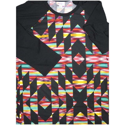 LuLaRoe Randy Medium M Geometric  Womens Raglan Sleeve Unisex Baseball Tee Shirt - M fits 10-12
