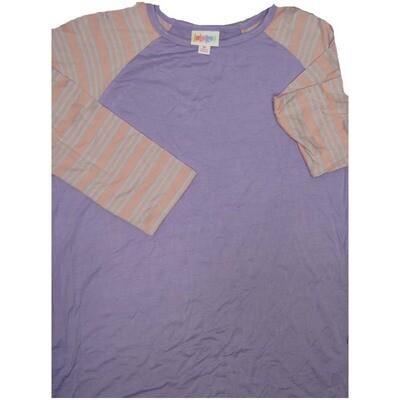 LuLaRoe Randy Medium M Solid and Stripe Womens Raglan Sleeve Unisex Baseball Tee Shirt - M fits 10-12