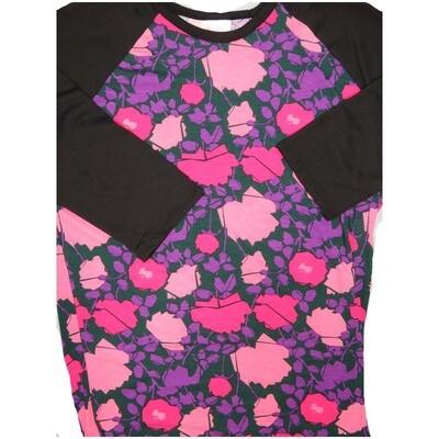 LuLaRoe Randy Medium M Floral Womens Raglan Sleeve Unisex Baseball Tee Shirt - M fits 10-12