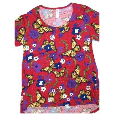 LuLaRoe Classic Tee Small S Butterflies Floral Womens Shirt fits 6-8