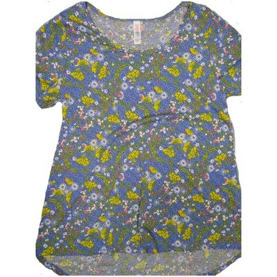 LuLaRoe Classic Tee Small S Floral Geometric Stripe Womens Shirt fits 6-8