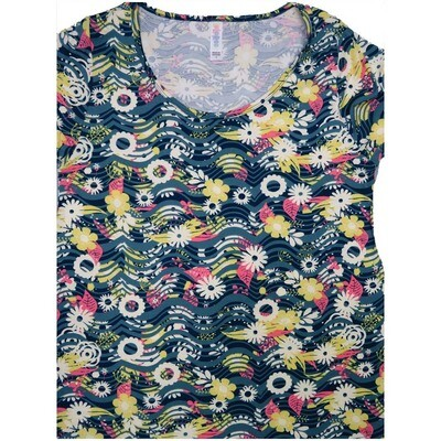 LuLaRoe Classic Tee Small S Floral Wavy Stripe Womens Shirt fits 6-8