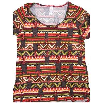 LuLaRoe Classic Tee Small S Christmas Terrier Stripe Scarf Womens Shirt fits 6-8