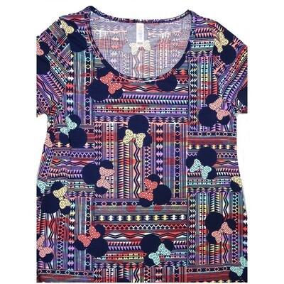 LuLaRoe Classic Tee Small S Disney Minnie Mouse Patchwork Stripe Womens Shirt fits 6-8