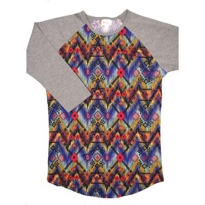 LuLaRoe Randy Small Multicolor Aztek Geometric with Purple Cranberry Gray Raglan Sleeve Unisex Baseball Tee Shirt - S fits 6-8