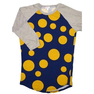 LuLaRoe Randy Small Navy Gold Polka Dot with Gray Raglan Sleeve Unisex Baseball Tee Shirt - S fits 6-8