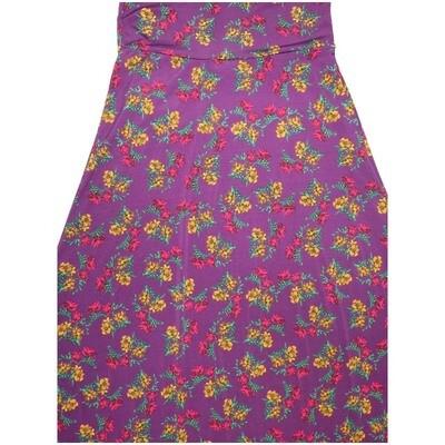 LuLaRoe Maxi X-Small XS Blue Yellow Pink Floral A-Line Skirt fits Women 2-4