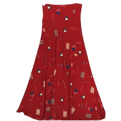 LuLaRoe Maxi X-Small XS Red Blue Cream Geometric Stripe A-Line Skirt fits Women 2-4
