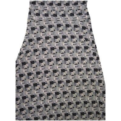 LuLaRoe Maxi X-Small XS Gray Black Geometric A-Line Skirt fits Women 2-4