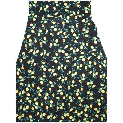 LuLaRoe Maxi X-Small XS Black White Yellow Floral A-Line Skirt fits Women 2-4