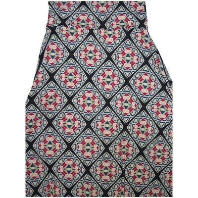 LuLaRoe Maxi X-Small XS Black Gray Blue Trippy Mandala Psychedlic Geometric A-Line Skirt fits Women 2-4