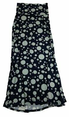 LuLaRoe Maxi X-Small XS Black Gray Large Pola Dot A-Line Skirt fits Women 2-4