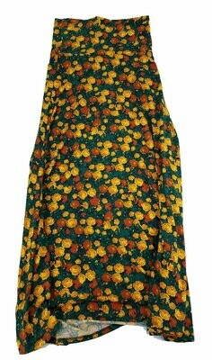 LuLaRoe Maxi X-Small XS Roses Red Yellow A-Line Skirt fits Women 2-4