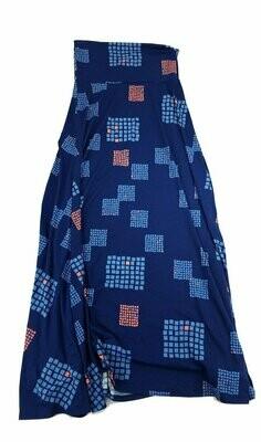 LuLaRoe Maxi X-Small XS Blue Square Geometric Polka Dot A-Line Skirt fits Women 2-4