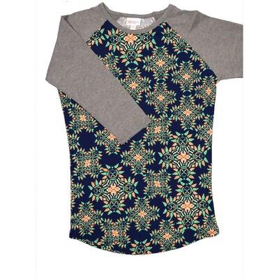 LuLaRoe Randy XX-Small Geometric Navy Orange Green with Gray Raglan Sleeve Unisex Baseball Tee Shirt - XXS fits 00-0
