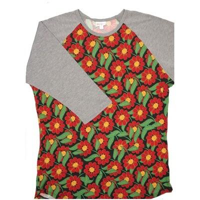 LuLaRoe Randy X-Large Black Red Green Floral with Gray Raglan Sleeve Unisex Baseball Tee Shirt - XL fits 18-20