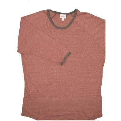 LuLaRoe Randy X-Large Heathered Light Maroon with Gray Trim Raglan Sleeve Unisex Baseball Tee Shirt - XL fits 18-20