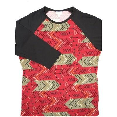 LuLaRoe Randy X-Large Maroon Light Brown Arrows Geometric with Black Raglan Sleeve Unisex Baseball Tee Shirt - XL fits 18-20