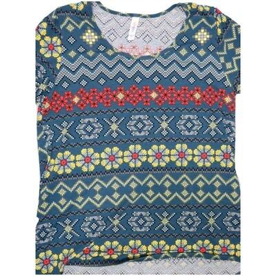 LuLaRoe Classic Tee Large L Christmas Knit Look Sweater Stripe Womens Shirt fits sizes 14-16