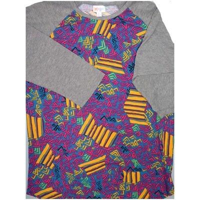 LuLaRoe Randy Large L Geometric Raglan Sleeve Unisex Baseball Womens Tee Shirt - L fits 14-16
