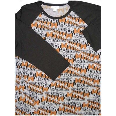 LuLaRoe Randy Large L Disney Multiple Minnie Mouse Raglan Sleeve Unisex Baseball Womens Tee Shirt - L fits 14-16