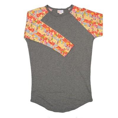 LuLaRoe Randy XX-Small Gray with Pink Yellow Blue Geometric Raglan Sleeve Unisex Baseball Tee Shirt - XXS fits 00-0