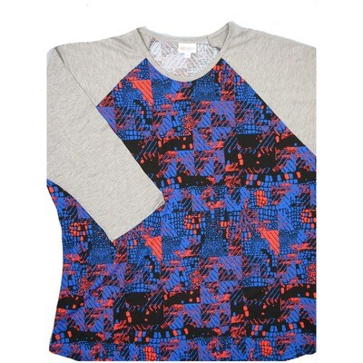 LuLaRoe Randy XXX-Large Blue Pink Black Geometric with Light Gray Raglan Sleeve Unisex Baseball Tee Shirt - XXXL fits 24-26
