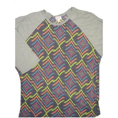 LuLaRoe Randy XXX-Large Lime Fucshia Gray Turquoise Geometric with Gray Raglan Sleeve Unisex Baseball Tee Shirt - XXXL fits 24-26