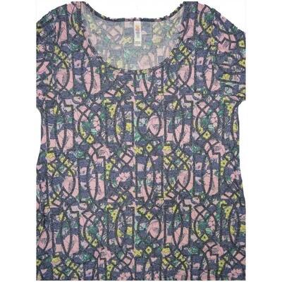 LuLaRoe Classic Tee Large L Geometric Floral Womens Shirt fits sizes 14-16