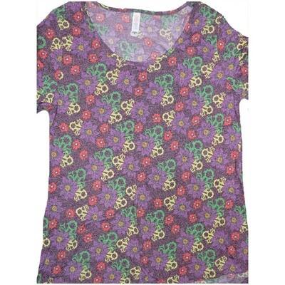 LuLaRoe Classic Tee Medium M Floral Geometric Womens Shirt fits sizes 10-12