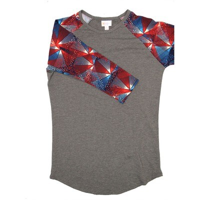 LuLaRoe Randy X-Small Dark Gray with Red Blue White America USA Raglan Sleeve Unisex Baseball Tee Shirt - XS fits 2-4