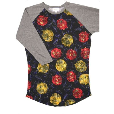 LuLaRoe Randy X-Small Black Purple Red Yellow Roses with Gray Raglan Sleeve Unisex Baseball Tee Shirt - XS fits 2-4