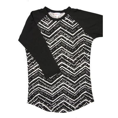 LuLaRoe Randy X-Small Black White Geometric with Black Raglan Sleeve Unisex Baseball Tee Shirt - XS fits 2-4