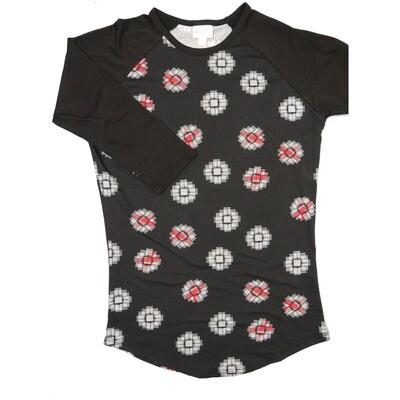 LuLaRoe Randy X-Small Black White Red Geometric with Black Raglan Sleeve Unisex Baseball Tee Shirt - XS fits 2-4