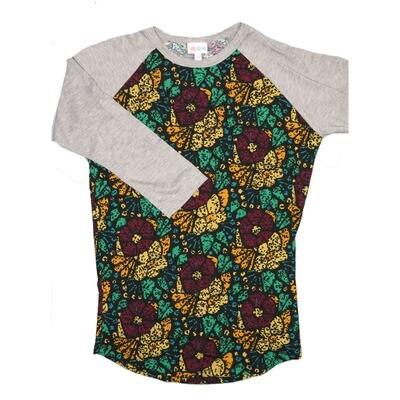 LuLaRoe Randy X-Small Black Wine Gold Teal Geometric with Gray Raglan Sleeve Unisex Baseball Tee Shirt - XS fits 2-4