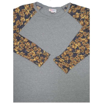 LuLaRoe Randy X-Small Floral Raglan Sleeve Unisex Baseball Womens Tee Shirt - XS fits 2-4