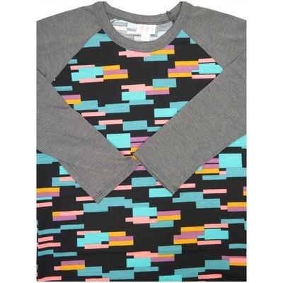 LuLaRoe Randy X-Small Geometric Raglan Sleeve Unisex Baseball Womens Tee Shirt - XS fits 2-4