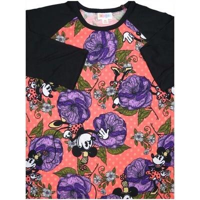 LuLaRoe Randy X-Small Disney Minnie Mouse Polka Dot Floral Black Pink White Raglan Sleeve Unisex Baseball Womens Tee Shirt - XS fits 2-4